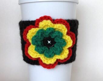 Crochet Rastafarian Flower Coffee Cup Cozy