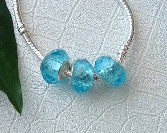 "Set of 3 faceted glass stone ""TURQUOISE"" pr CHARMS"