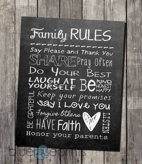 Faux Chalkboard Home Decor Family Rules Printable Subway Wall