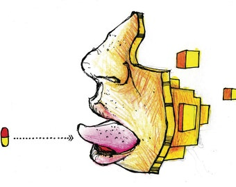 Pill in Mouth 36x24 Poster Print