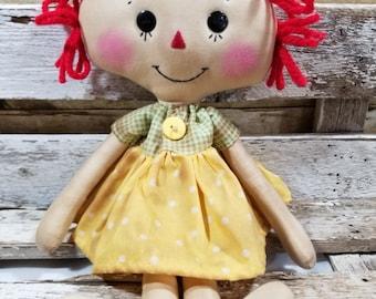 Raggedy Annie Sarah Annie Primitive Doll Raggedy Ann Yellow Polka Dot Dress Annie Doll Ready To Ship!