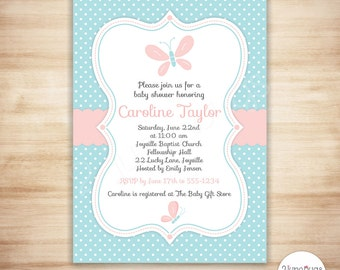 Butterfly Baby Shower Invitation - Baby Girl Shower - Spring Baby Shower Invite - Pink and Blue - PERSONALIZED, PRINTABLE