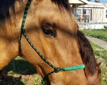 Black and Green Rope Halter/Lead