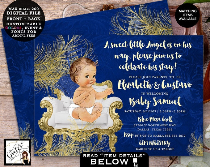 """Blue and Gold Baby Shower Angel Invitation Boy Shower, Printable African American, Double Sided, Digital File, Vintage 7x5"""" Gvites."""