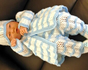 "Boy's pdf Knitting Pattern 4 Pce Set in all 3 sizes - Prem Baby 16/18"" Doll, Newborn Baby 18/20"" Doll, 0-3 Month Baby 20/22"" Doll - MARCUS"