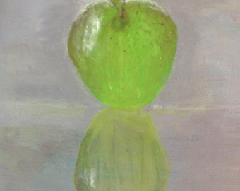 Painting of a green apple acrylic painting by Bradley Pearson on a 8x8 inch stretched canvas