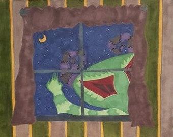 Peek-A-Boo! Original Art Window Monster Wall Art