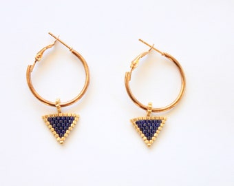 Blue triangle earrings, Navy blue earrings, blue beaded earrings, seed beads, minimalist earrings, miyuki earrings, jewelry, gifts for her
