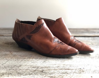 Cowboy ANKLE BOOTS Western Ankle Boots Cowgirl Boots Womens Boots Winklepicker Boots Brown Leather Boots Ankle Booties 80s Boots Size