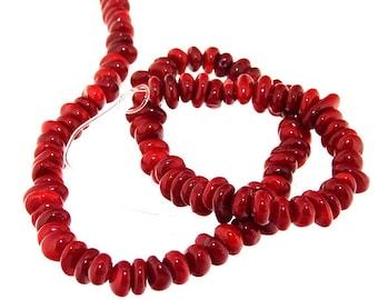 One Strand Heishi Red Coral Gemstone Beads Strand 6mm 15.5inch