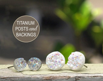 Two Pair Set of Faux Druzy Stud Titanium Earrings - Drusy Glitter Posts, 12mm White Glitter, 8mm Clear Glitter - Galaxy Collection