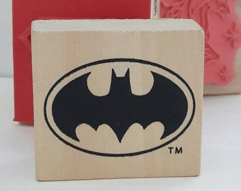 Batman Logo Wood Mounted Rubber Stamp Scrapbooking & Paper Craft Supplies