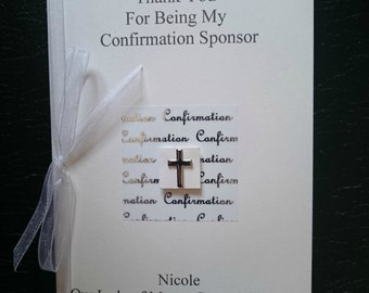 Lovely handmade personalised personalized Thank You For Being My Confirmation Sponsor card