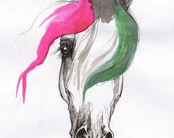 Horse art, equine portrait, equestrian, original ink drawing