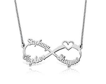 Personalized 925 Sterling Infinity Necklace Custom Made with Any Names