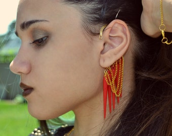 Chained and Spiked Ear Cuff