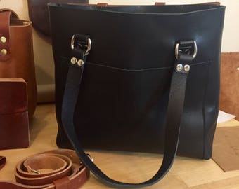Leather Tote, Raw Edge Leather, Unlined Leather Tote, Black Leather