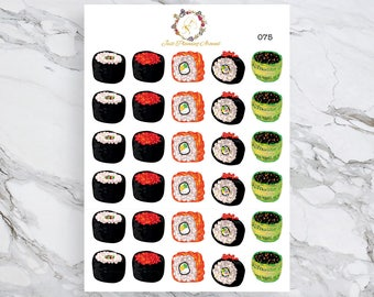 Sushi Stickers, Japanese Food, Food Stickers, for use with  Erin Condren, Happy Planner