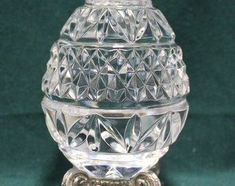 Crystal Clear Cut Glass Easter Egg Figure Heavy Paperweight Decor