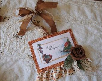 Thanksgiving postcard ornaments vintage style Fall farmhouse decor tag turkey paper ornaments thanksgiving hostess gifts