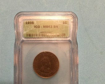 ICG MS 63 BN 1906 Canadian one cent