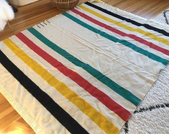Authentic Vintage Hudson's Bay 4 Point Striped Blanket vintage wool blanket Hudson's Bay blanket Pendleton blanket striped red green yellow