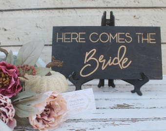 Here come the bride- laser engraved wedding sign - Wedding Decor sign- flower girl sign