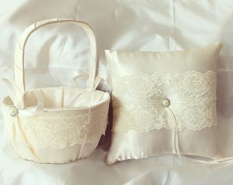 lace flower girl basket and ring bearer pillow ivory or white custom made wedding