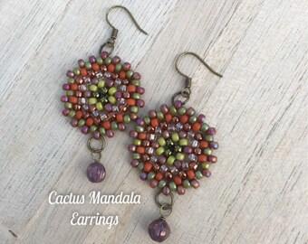 """Cactus Mandala Earrings 2.25"""""""