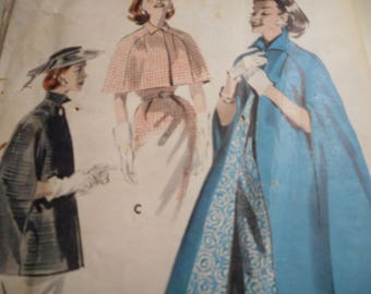 Vintage 1950's Butterick 8141 Cape Sewing Pattern Size Small Bust 31-32