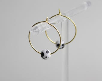 Marble Glass Gilded Hoop earrings