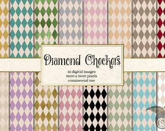 Diamond Checkers Digital Paper, diamond patterns, Alice in Wonderland backgrounds, vintage printable scrapbook paper, diamond patterns