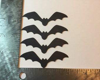 Set of four black bats - die cut