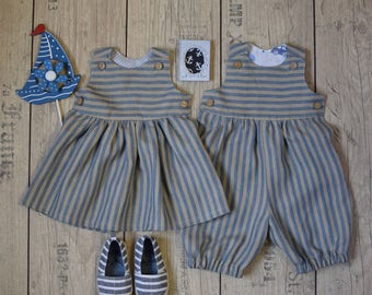 Baby twin linen outfit Twin boy and girl set Baby girl dress Baby boy romper 1st Birthday party outfit Family photo outfit