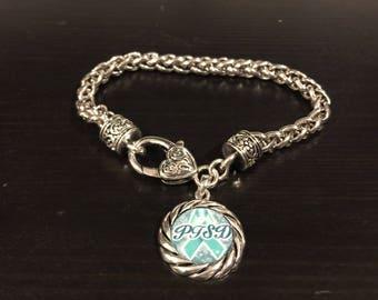 PTSD Awareness Ribbon Charm Bracelet
