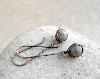 Aqua Terra Aqua Terra Jasper Earrings, African Blue Opal, Copper Earrings, Jasper Jewelry, Gemstone Earrings, Long Dangle Earrings, Gift