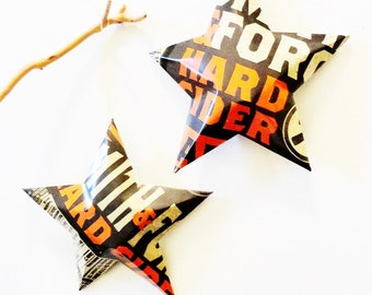 Smith & Forge Hard Cider  Stars Christmas Ornaments Aluminum Can Upcycled,Brown Orange Cream