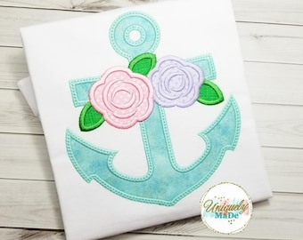 Girl Shirt - Anchor Shirt - Girls Personalized Shirt - Custom Shirt - Embroidered Shirt - Floral Anchor Shirt - Girls Outfit