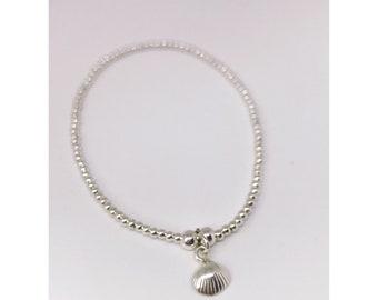 Sterling silver ball bead shell bracelet