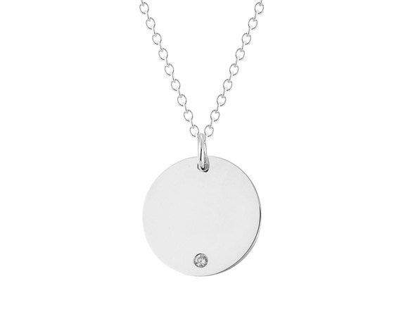 Initial necklace initial circle charm necklace disc aloadofball Gallery