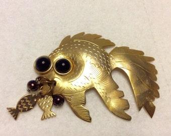 Angelfish brooch gold toned metal fish dangles.