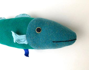 Aqua and blue green wool fish throw pillow doll