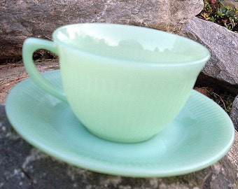 Vintage Fire King Jadeite Tea Cup Glass Jadite Jane Ray Coffee Soft Green Luster Demitasse Ribbed