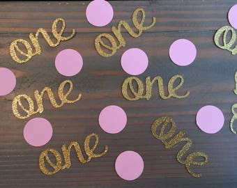 Baby's 1st birthday confetti, gold glitter and pink, ONE confetti, pink circles, birthday party, decor, table scatter