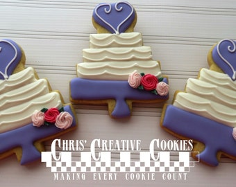Wedding Cake, Decorated  Sugar Cookie favors  One Dozen (12 cookies)