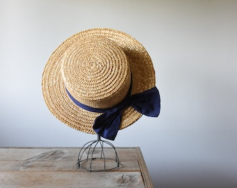 Vintage Wide Brim Straw Hat, Summer Hat,  Wedding Wear, Vintage Women's Accessories