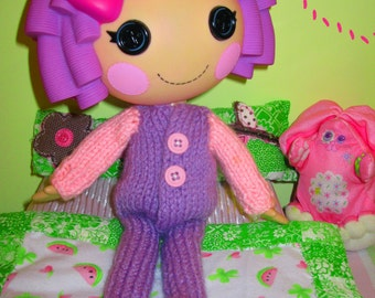 Knitting Pattern for Lalaloopsy Doll Clothes Footie Pajamas PDF Instant Download