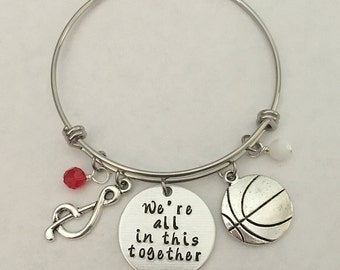 "Disney inspired High School Musical bangle bracelet ""We're all in this together"" charm bracelet disney jewelry hand stamped"