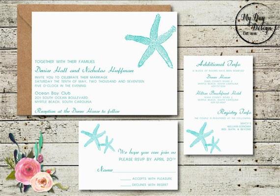 Starfish Wedding Invitation Kit: Starfish Wedding Invitation Digital