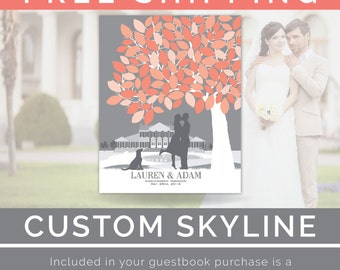 Wedding Tree // Personalized Skyline & Silhouette Wedding Tree Guestbook Print // 100+ Signature Guestbook // W-T05-1PS HH3